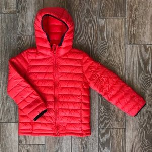 Gap lightweight puffer jacket with attached hood